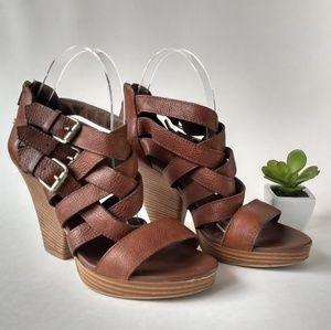 Madewell Basket Weave Heeled Sandals Brown 8.5